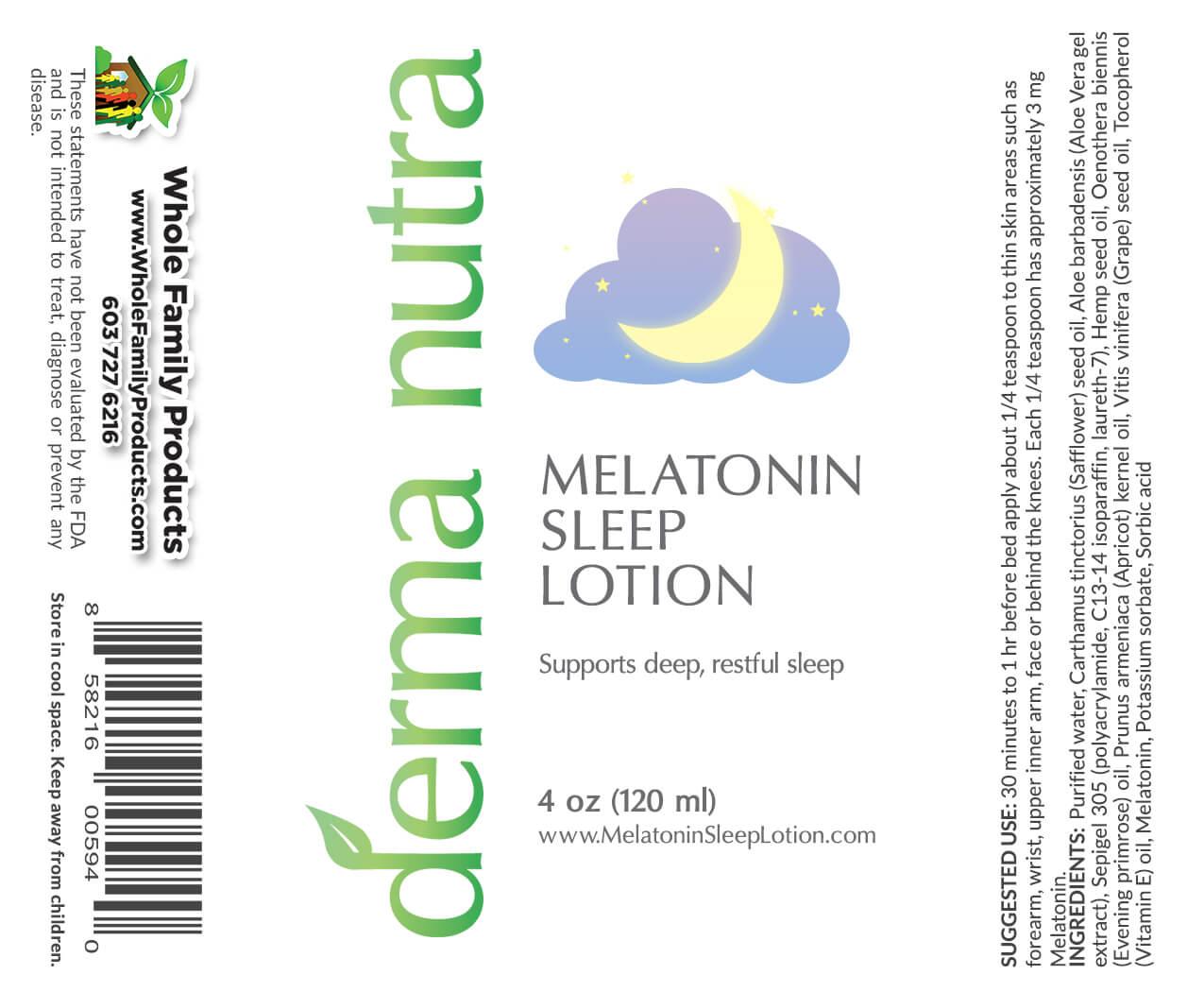 Derma Nutra Melatonin Sleep Lotion 4oz Pump Product Label