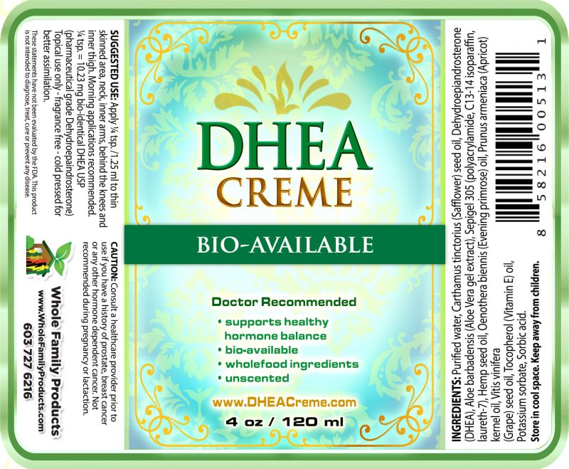 Dhea Cream 4oz Pump Label