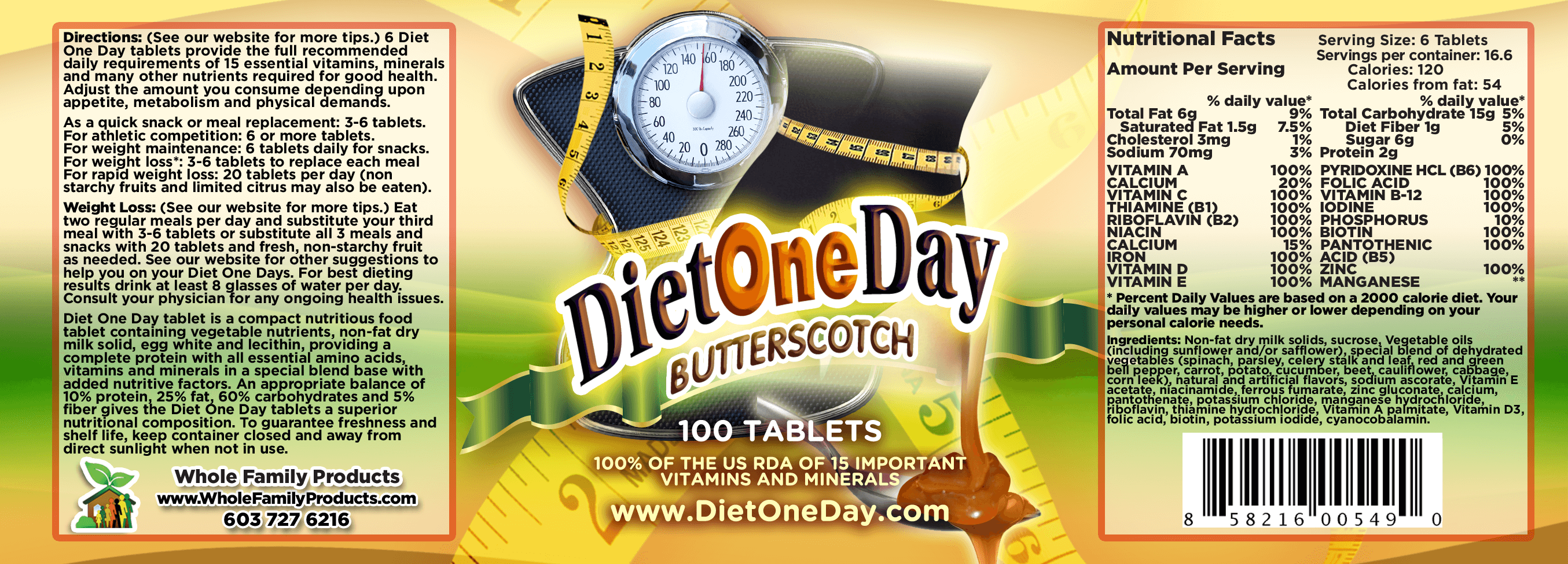 Diet One Day Wafers Butterscotch 100ct Product Label