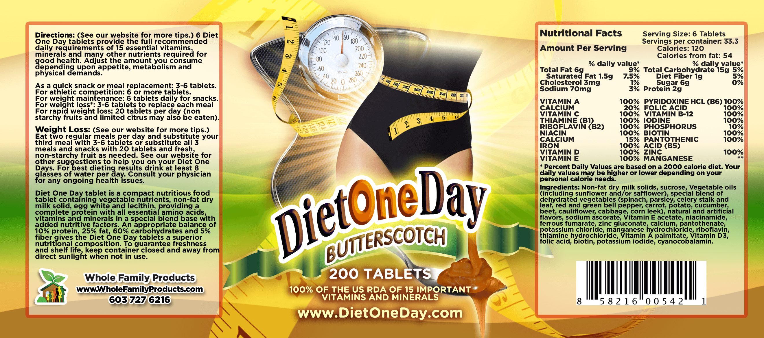 Diet One Day Wafers Butterscotch 200ct Product Label