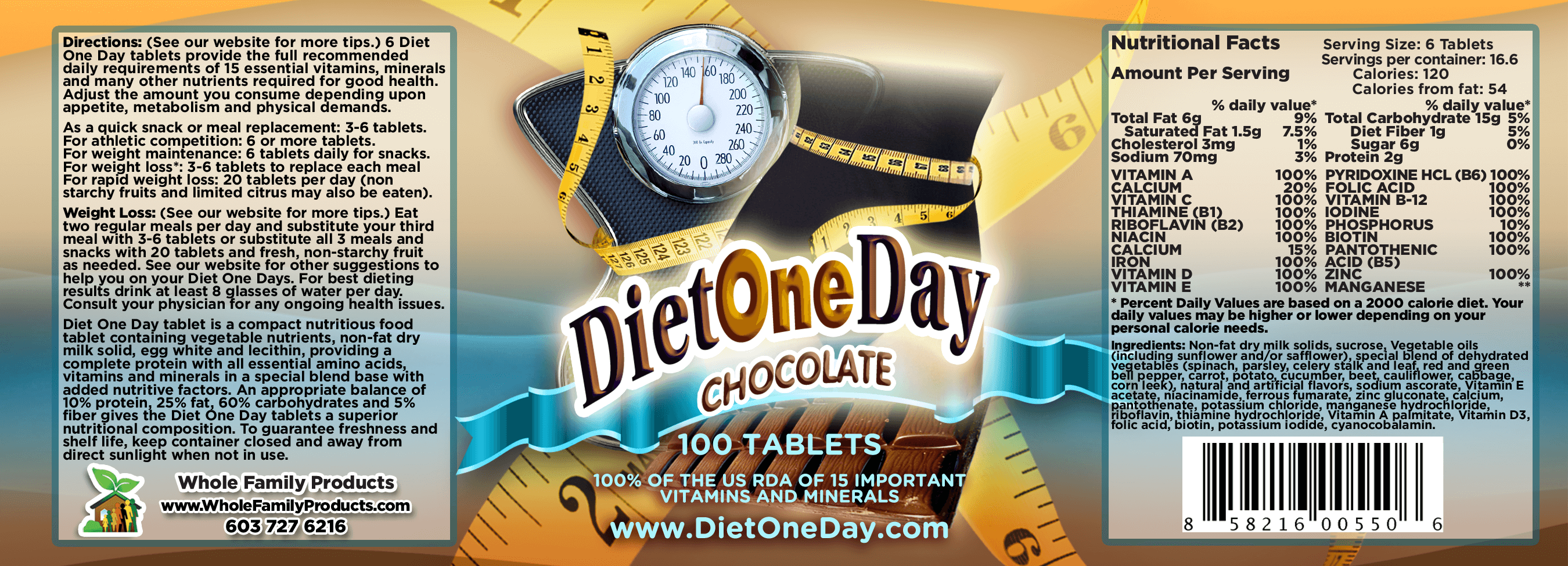 Diet One Day Wafers Chocolate 100ct Product Label