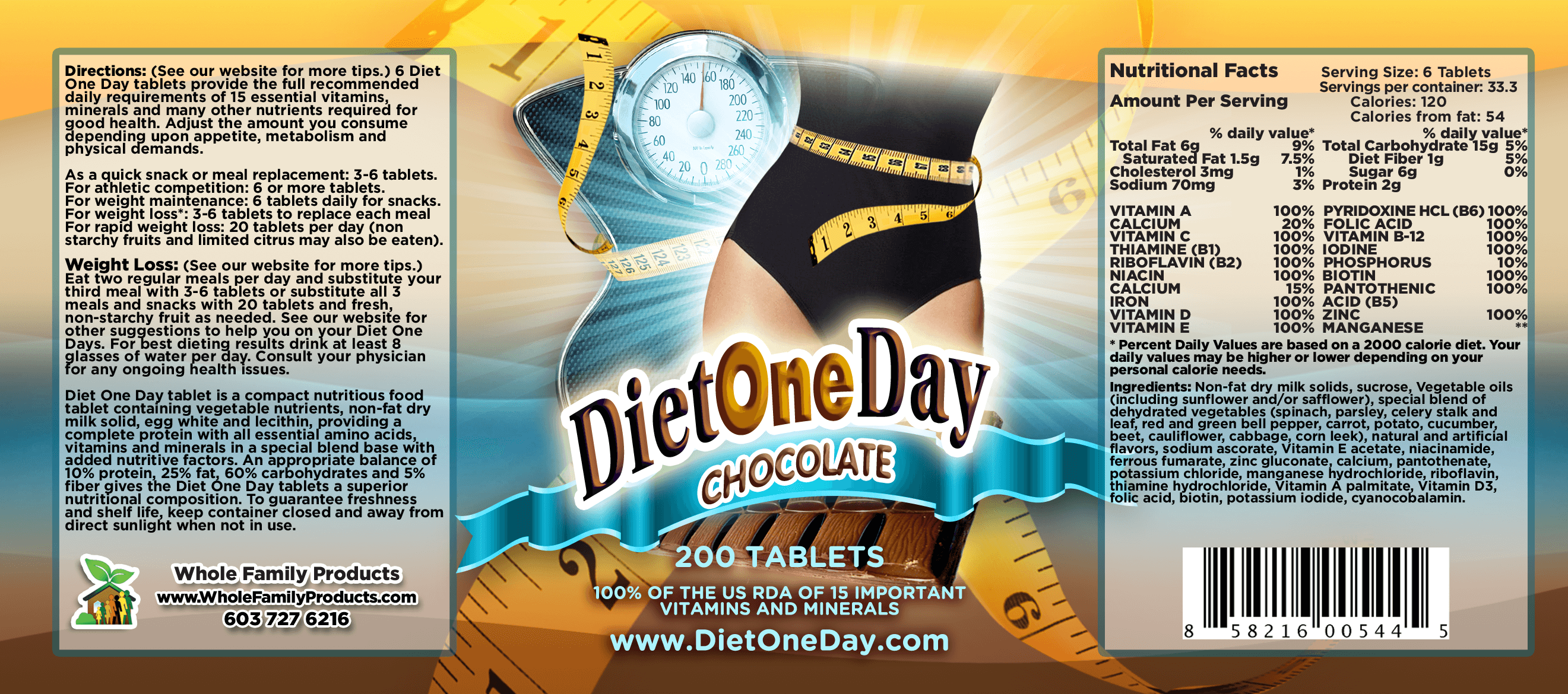 Diet One Day Wafers Chocolate 200ct Product Label