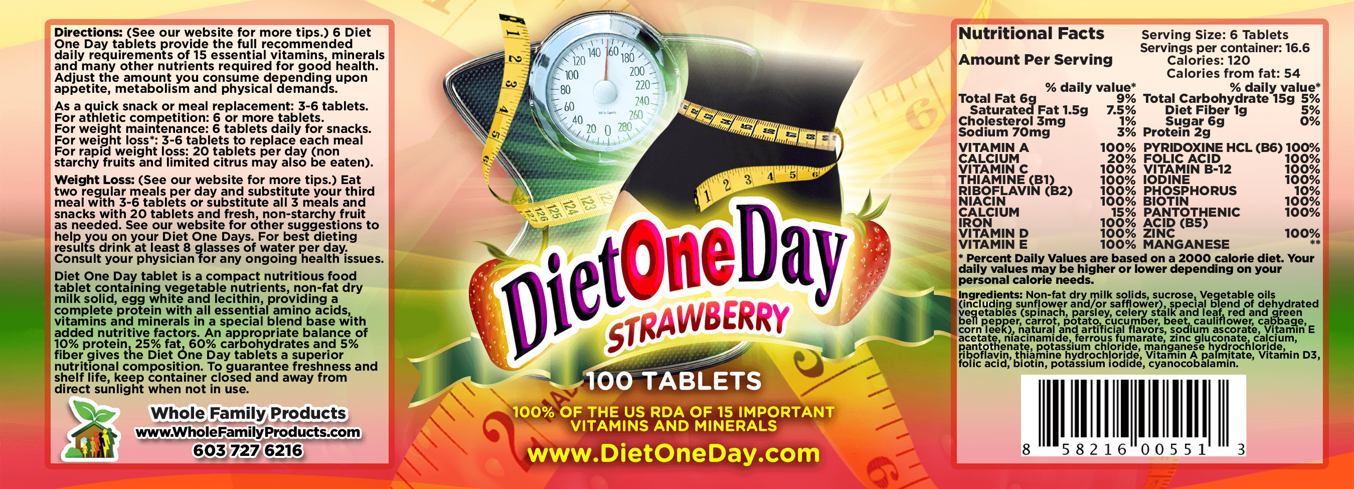 Diet One Day Wafers Strawberry 100ct Product Label