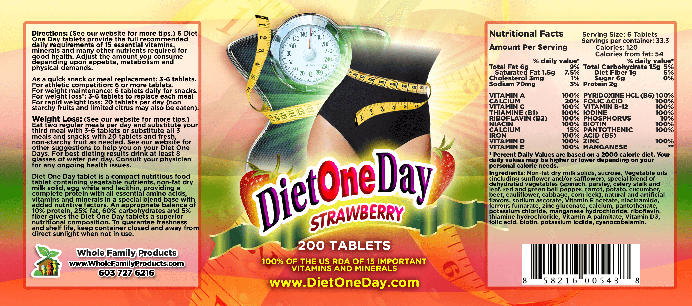 Diet One Day Wafers Strawberry 200ct Product Label