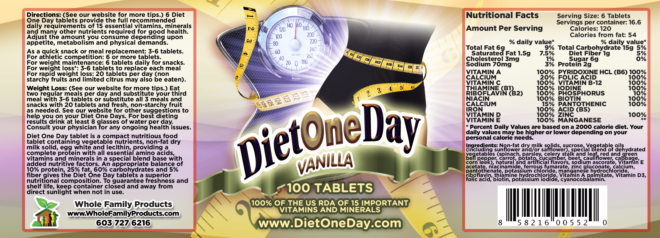 Diet One Day Wafers Vanilla 100ct Product Label