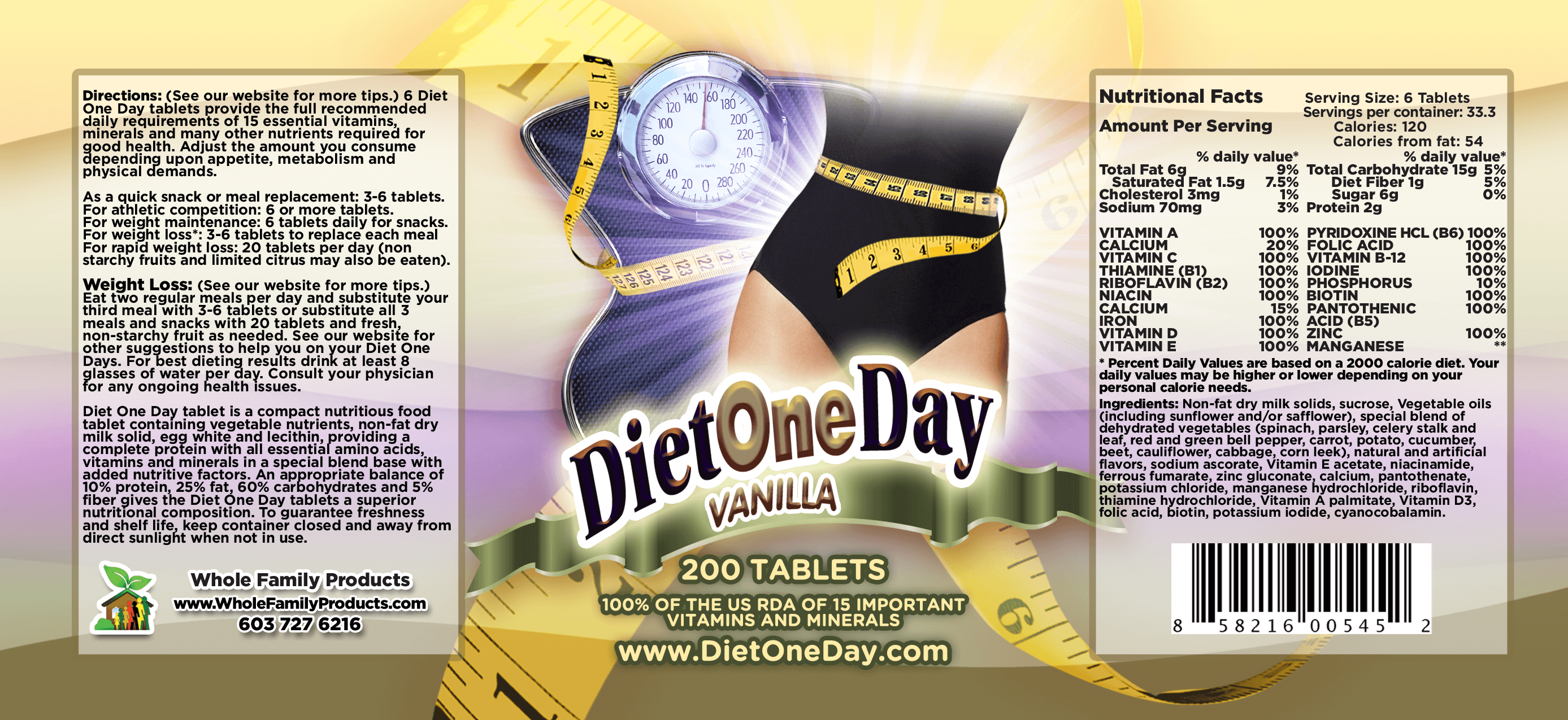 Diet One Day Wafers Vanilla 200ct Product Label
