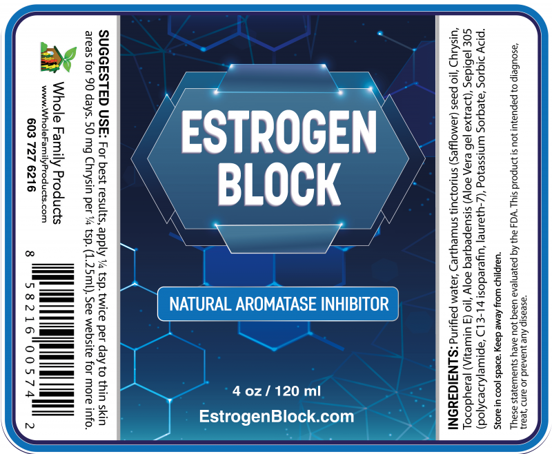 Estrogen Block 4oz Pump Label