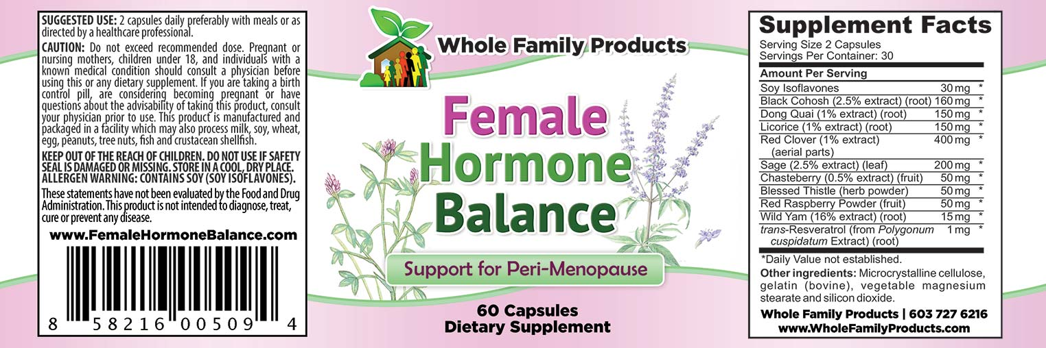 Female Hormone Balance Label