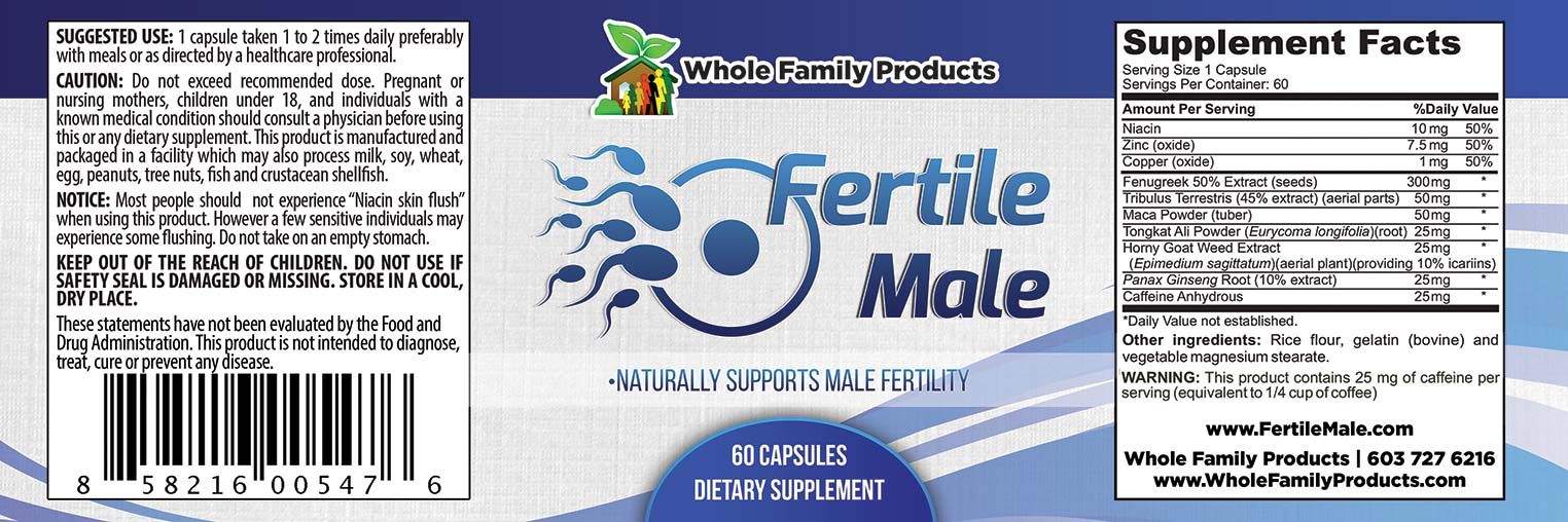 Fertile Male 60 Capsules Label