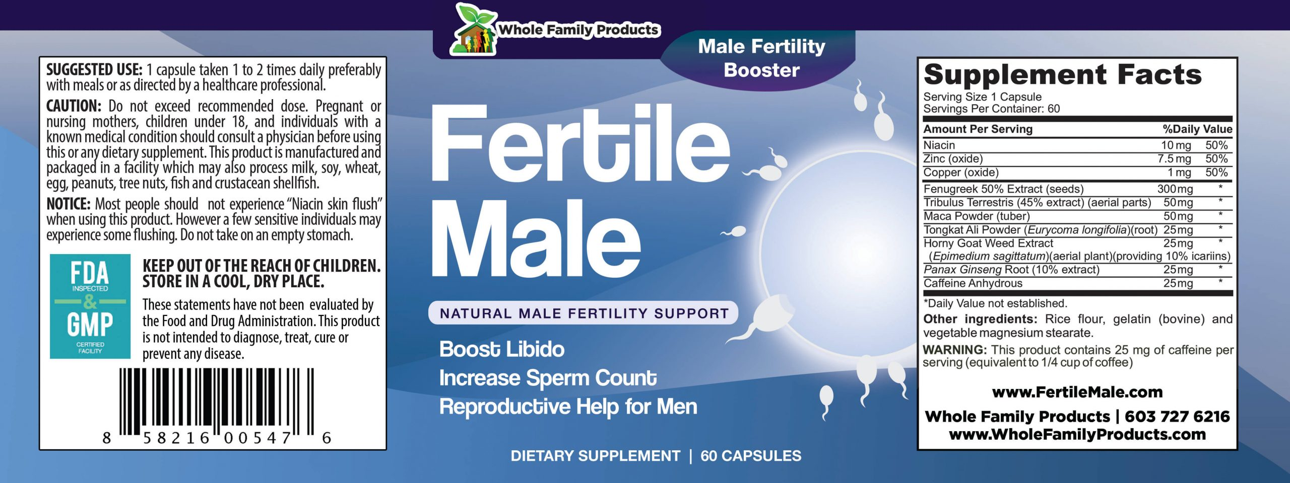Fertile Male 60 Capsules Product Label