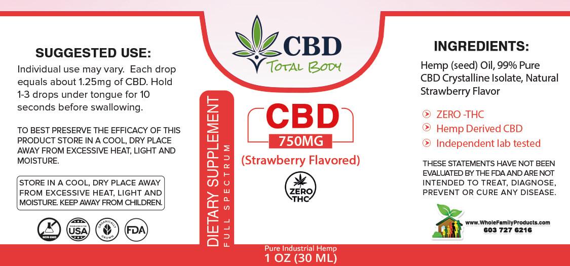Full Spectrum CBD Oil Strawberry Drops 750mg Label