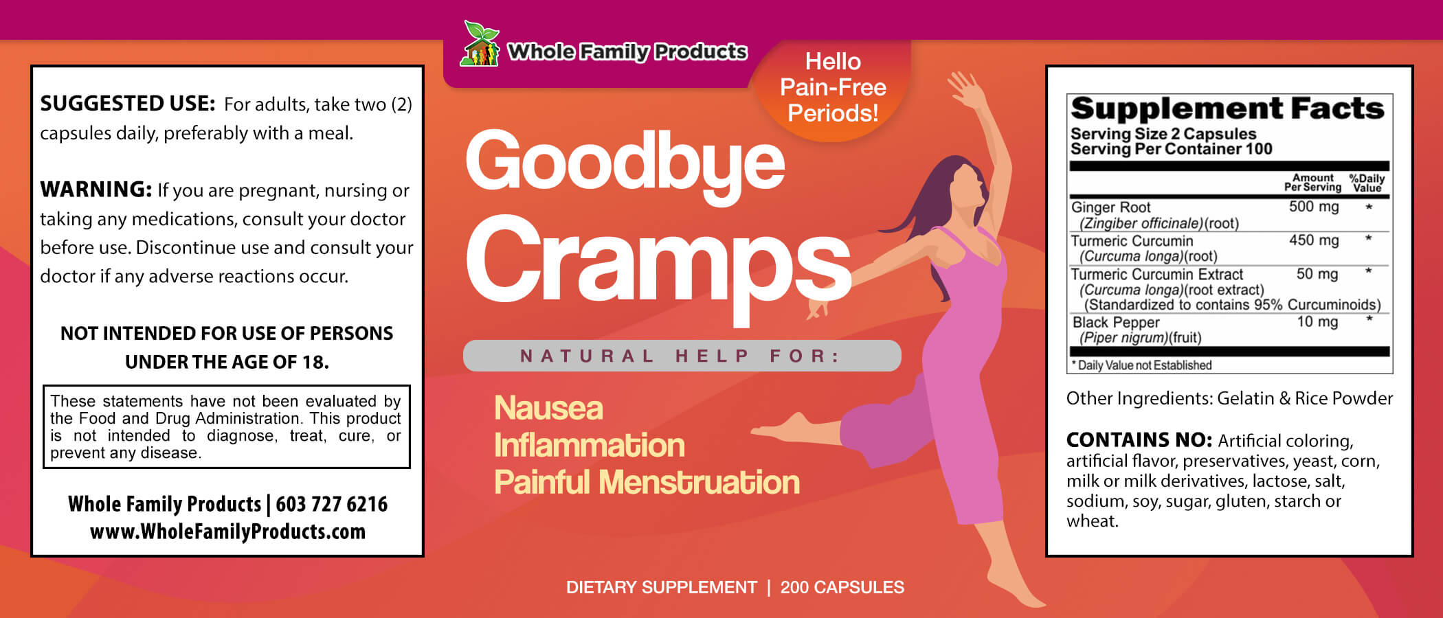 Goodbye Cramps 200 Capsules WFP Product Label