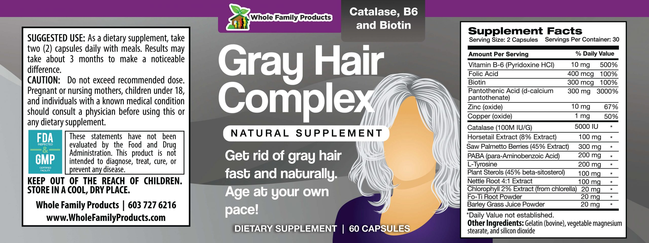 Gray Hair Complex Product Label