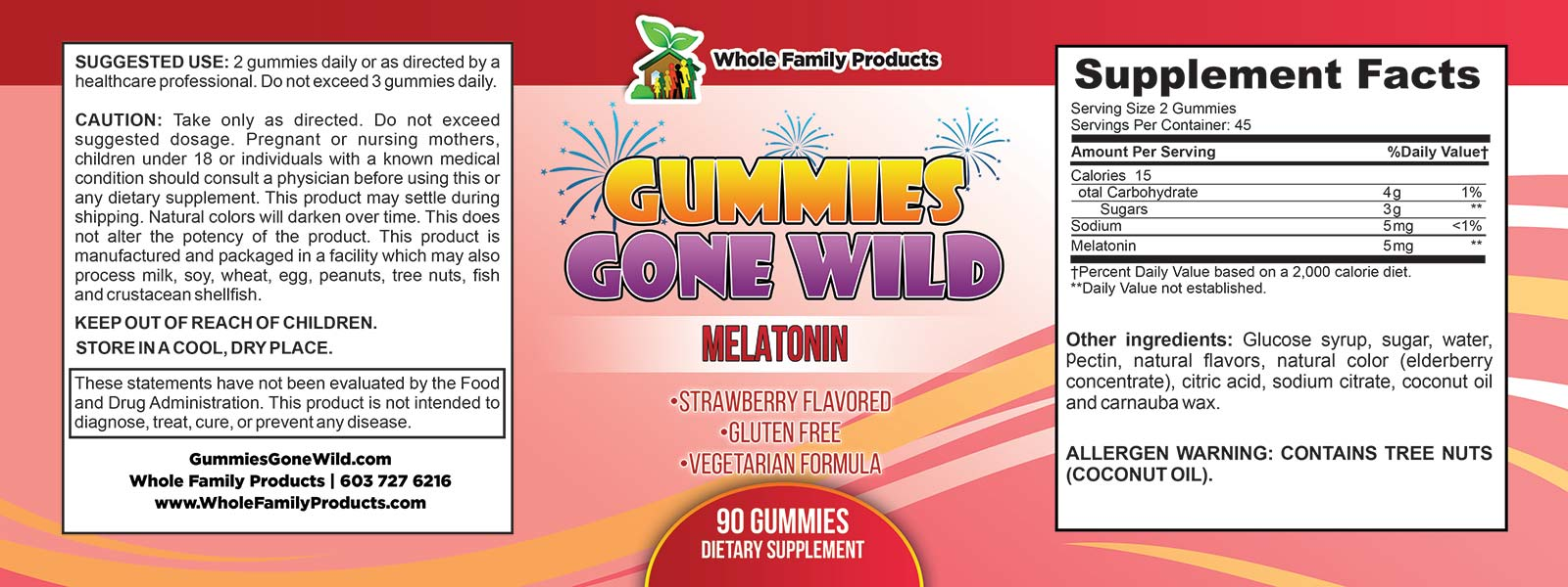 Gummies Gone Wild Melatonin Label