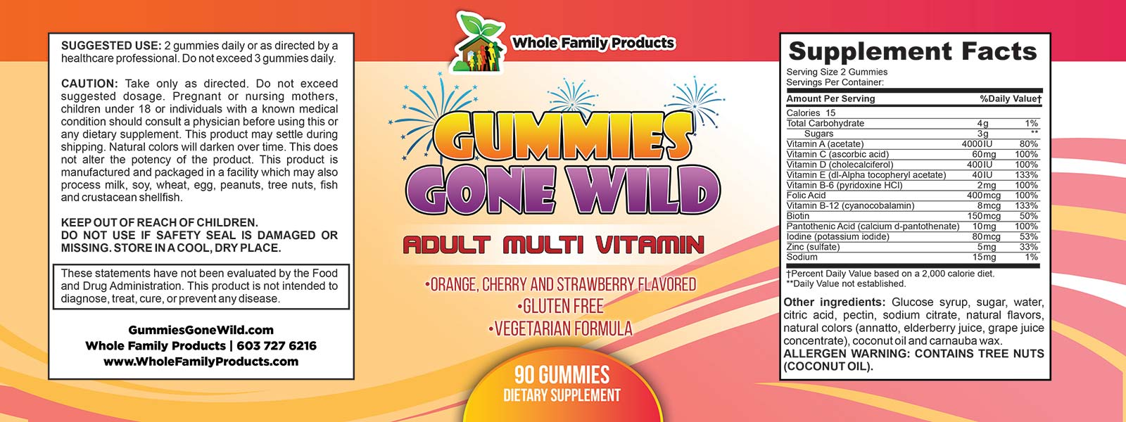 Gummies Gone Wild Adult Multi Vitamin Label