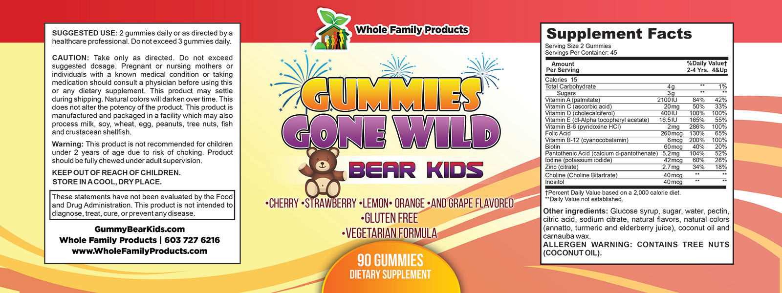 Gummies Gone Wild Bear Kids Label