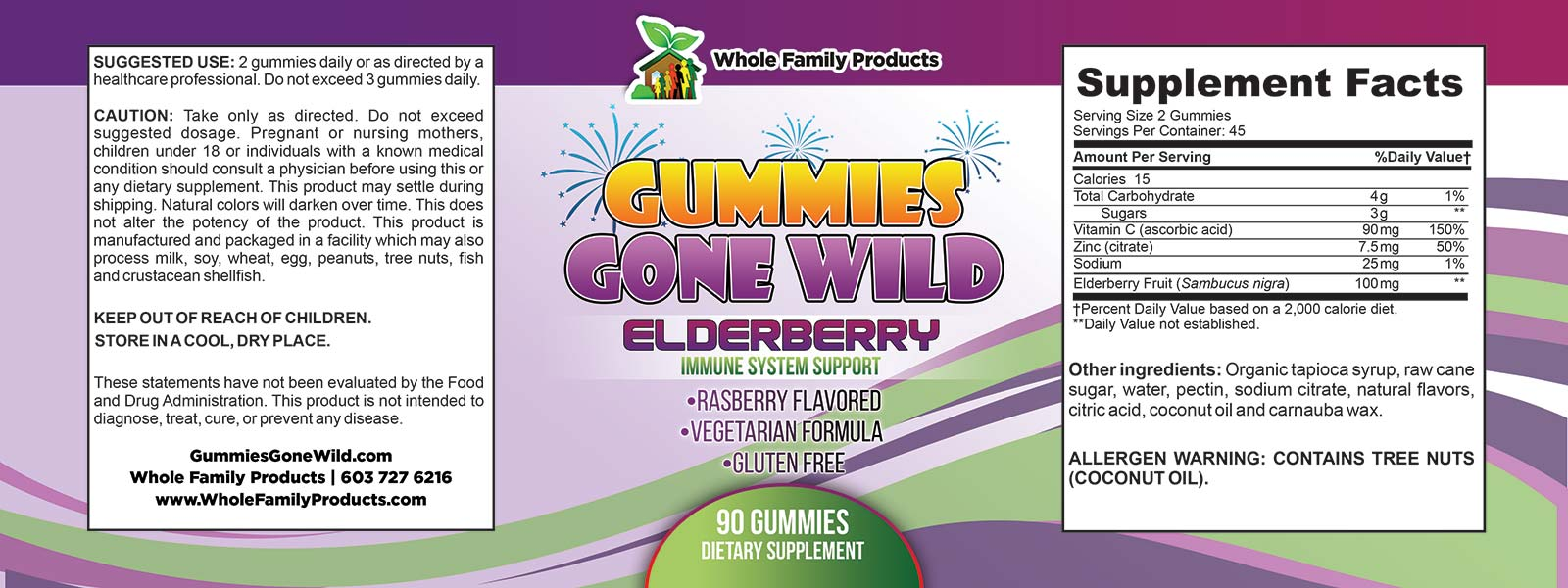 Gummies Gone Wild Elderberry Label