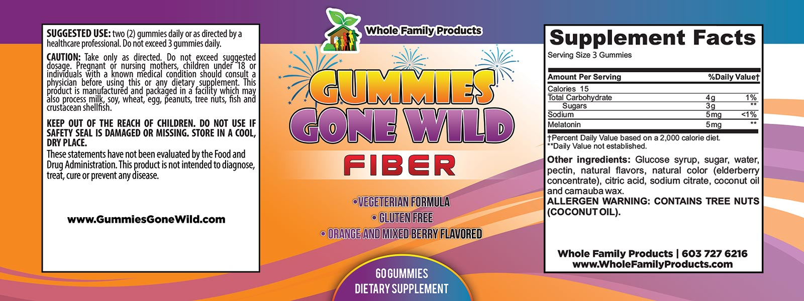 Gummies Gone Wild Fiber Label