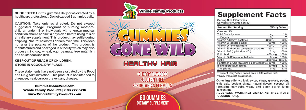 Gummies Gone Wild Healthy Hair Label