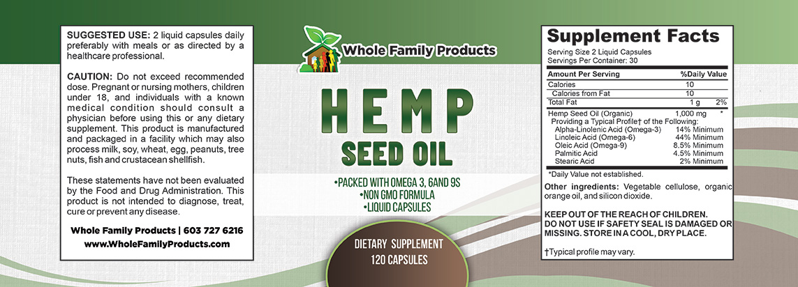 Hemp Seed Oil 120 Capsules Label