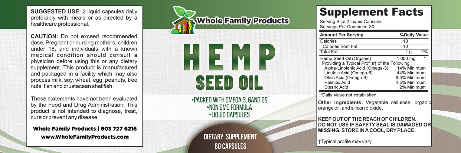 Hemp Seed Oil 60 Capsules Label