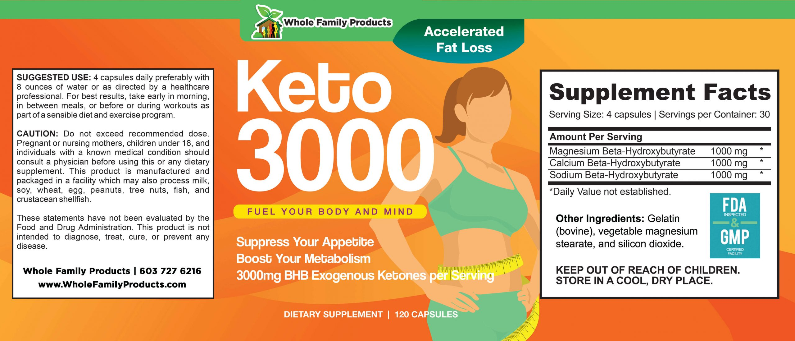 Keto 3000 120 Capsules WFP Product Label