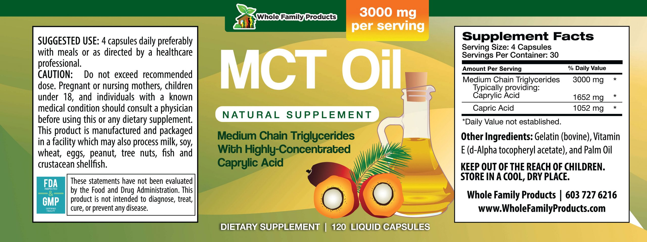 MCT Oil 120 Capsules Product Label