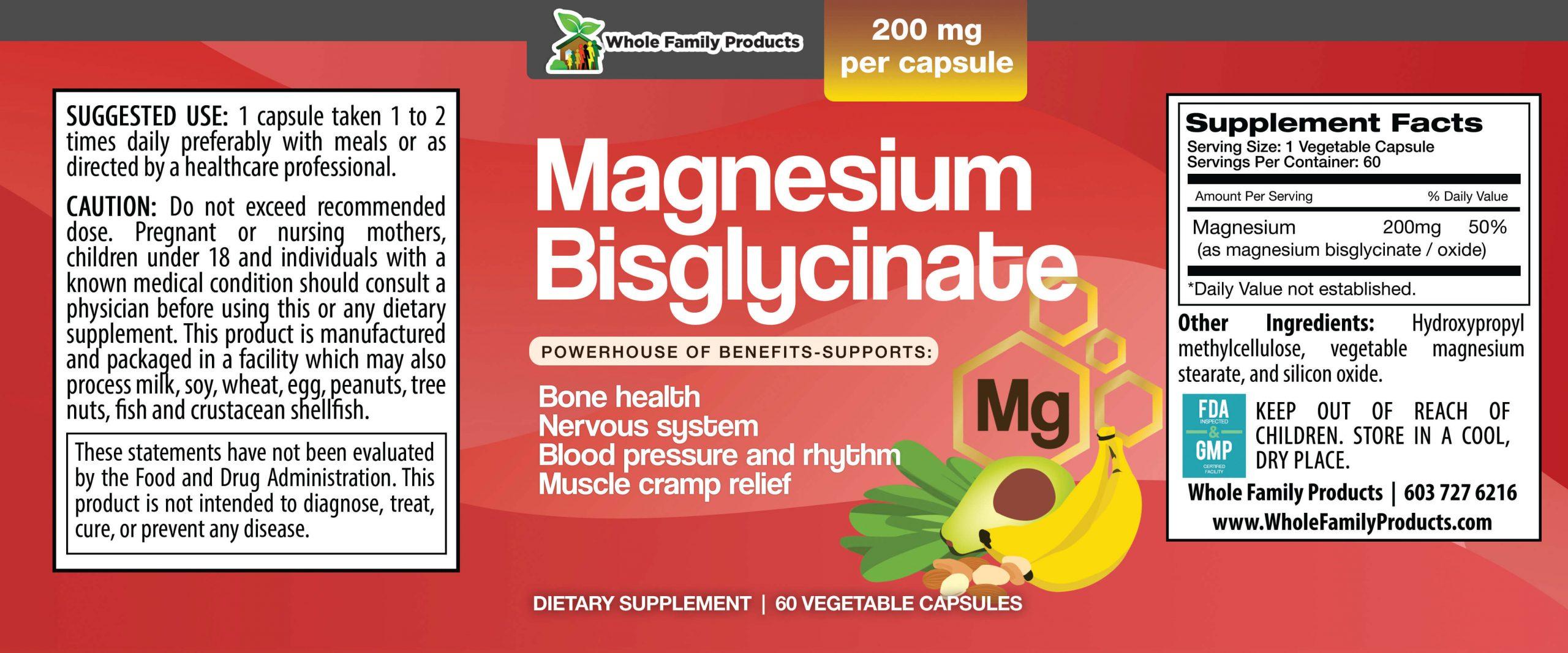 Magnesium Bisglycinate 60ct WFP Product Label