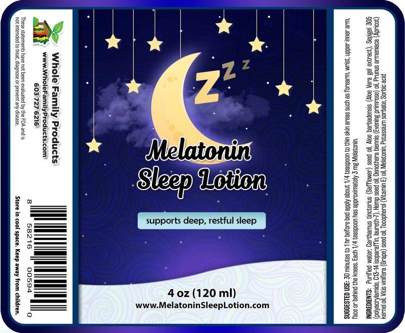 Melatonin Sleep Lotion 4oz Label