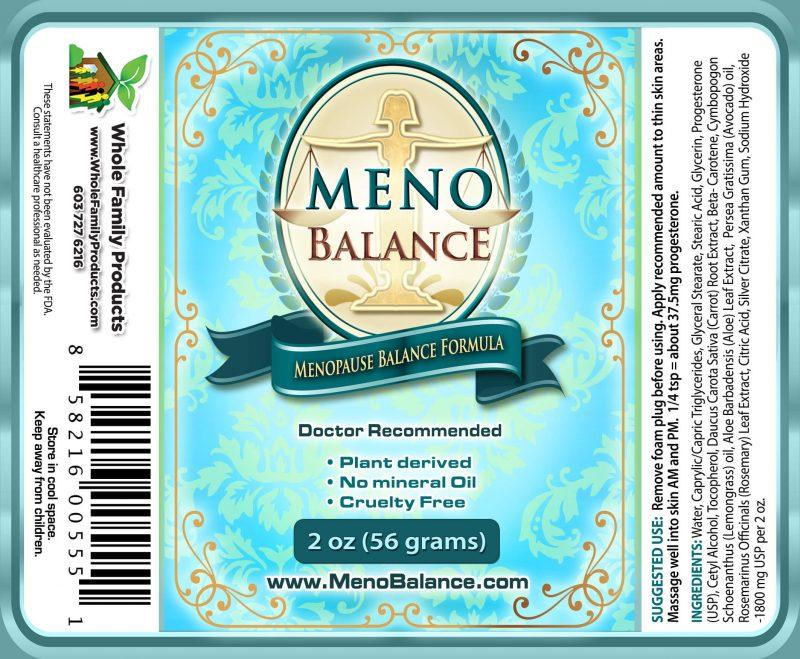 Menobalance Cream 2oz Pump Label