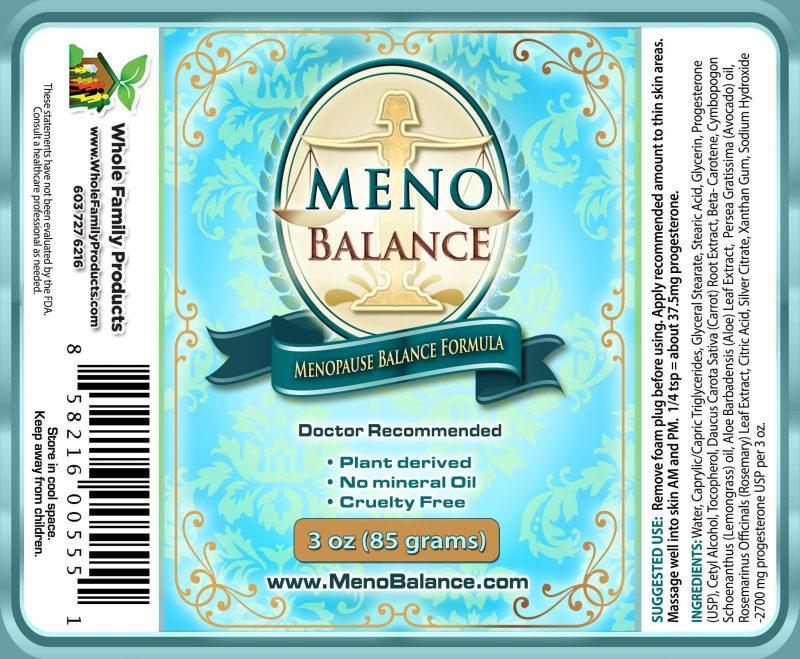 Menobalance Cream 3oz Pump Label