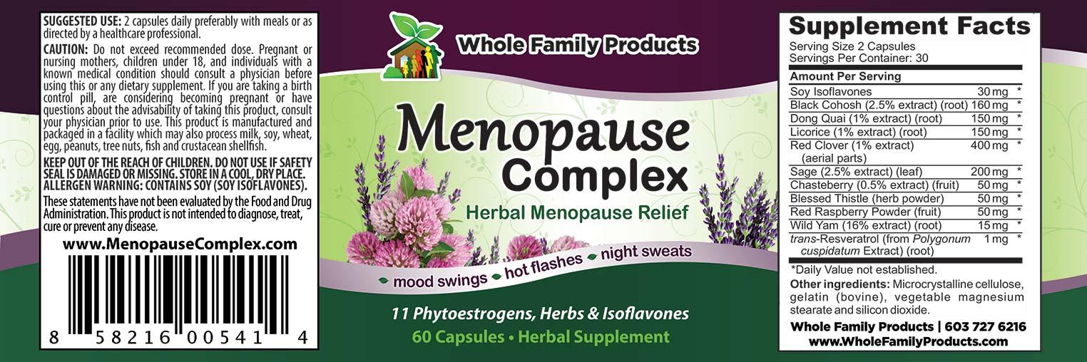 Menopause Complex Label