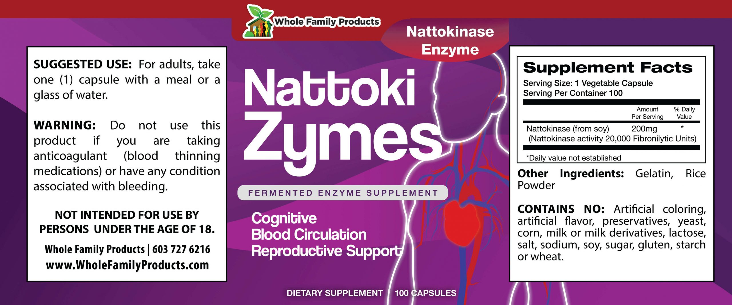 Nattokizymes 100ct WFP Product Label
