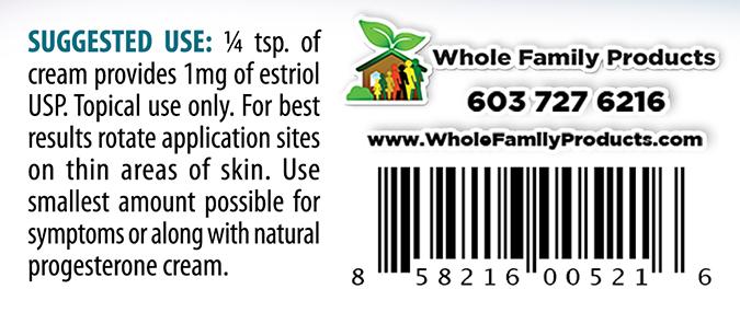 Natural Estrogen Cream 2oz Pump Suggested Use