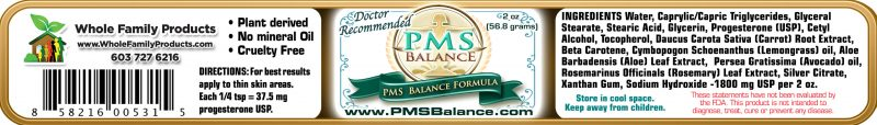 PMS Balance Cream 2 oz Jar Label