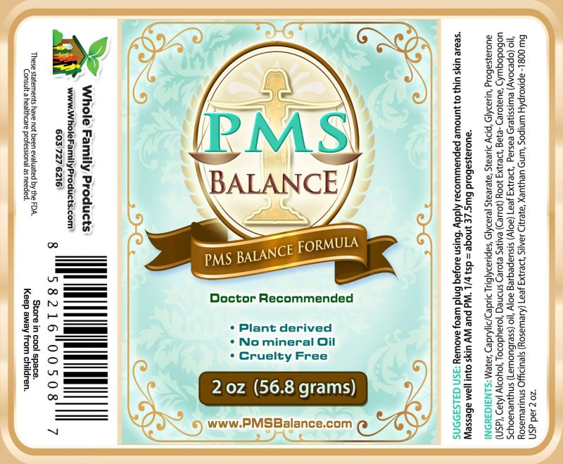 PMS Balance Cream 2oz Pump Label