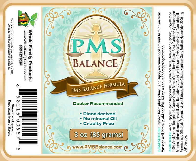 PMS Balance Cream 3 oz Pump Label