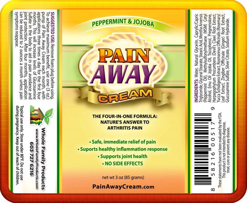 Pain Away Cream 3oz Pump Peppermint Label