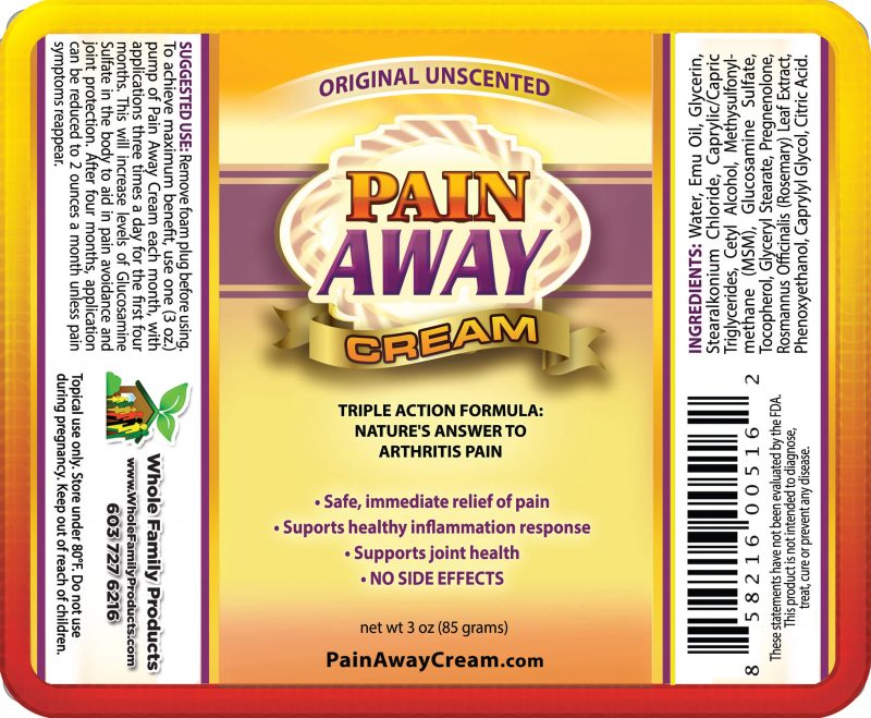 Pain Away Cream 3oz Pump Unscented Label