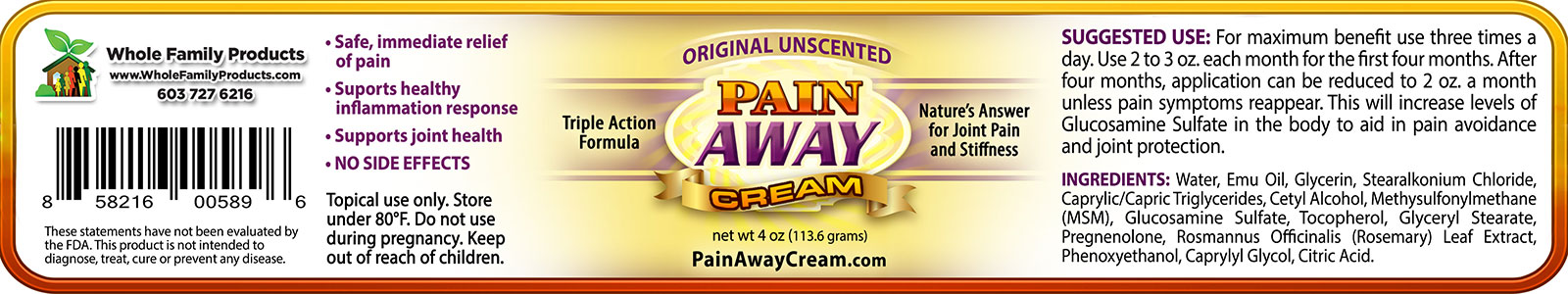 Pain Away Cream 4oz Jar Unscented Label