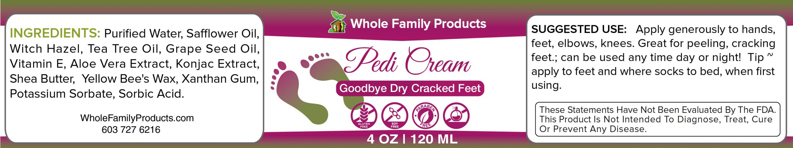 Pedi Cream Best Diabetic Foot Care Label