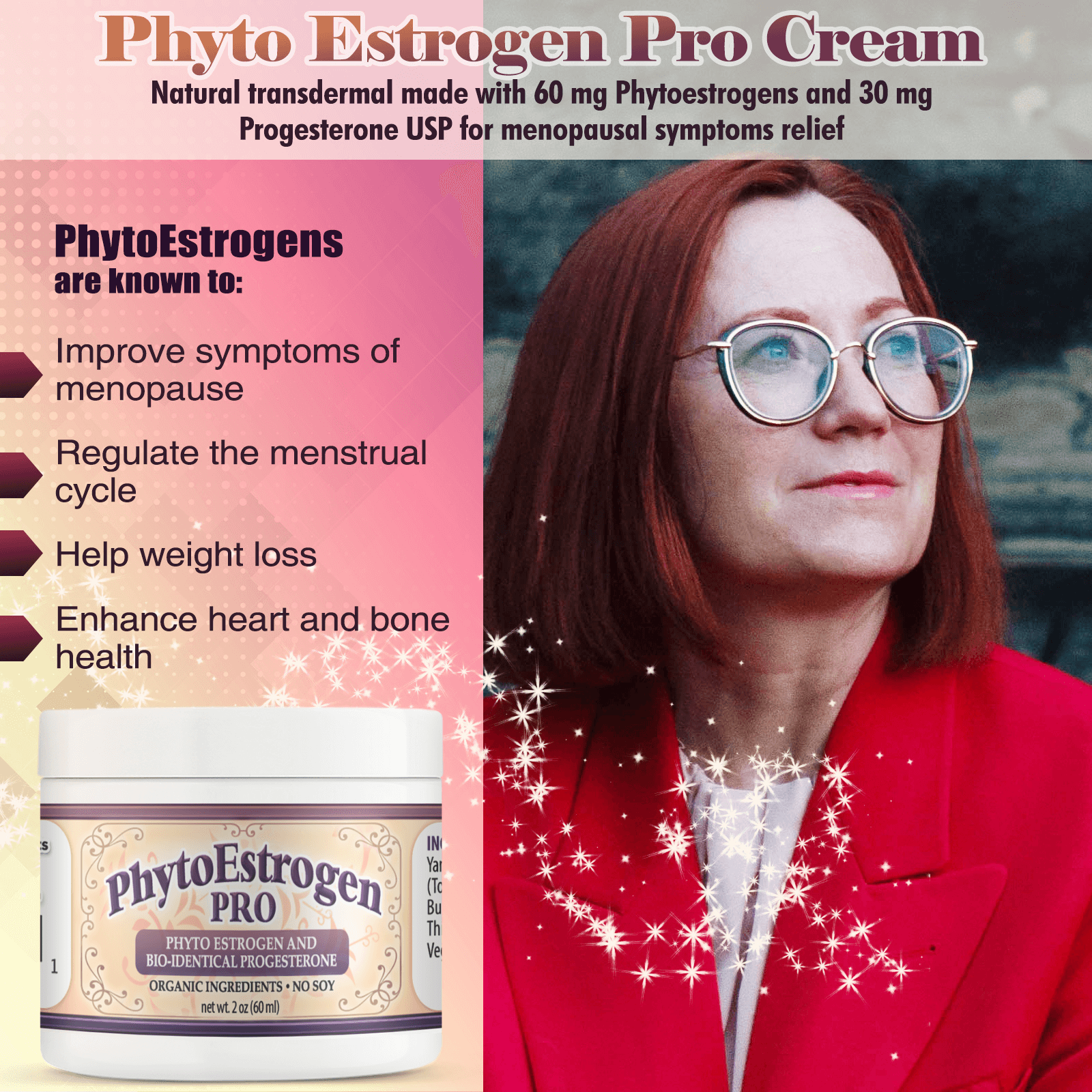 PhytoEstrogen Cream for Menopausal Symptom Relief Infographics