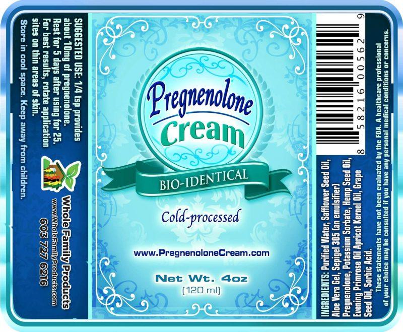Pregnenolone Cream 4oz Label