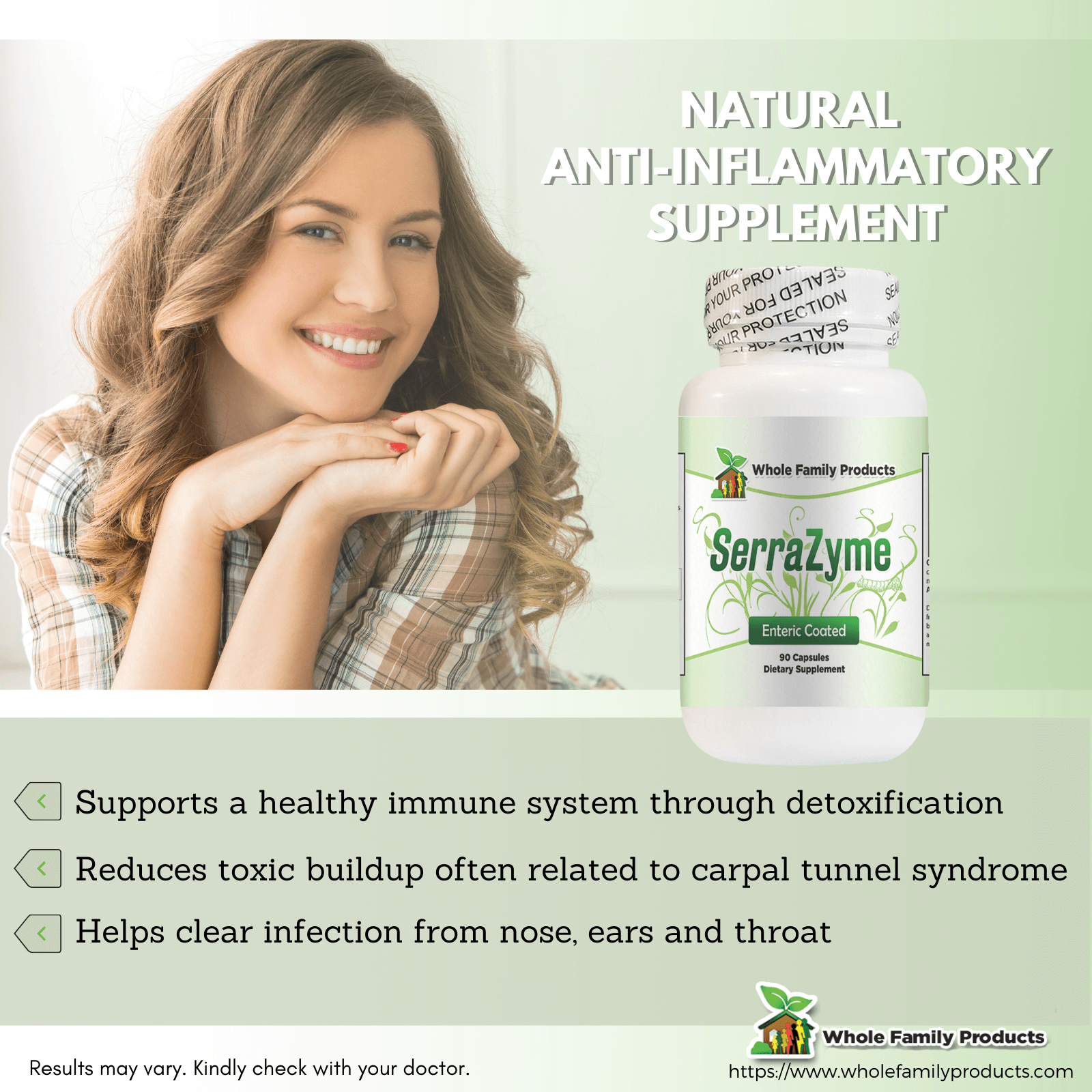 Serrazyme Enzyme 90 Capsules Natural Anti-Inflammatory Supplement