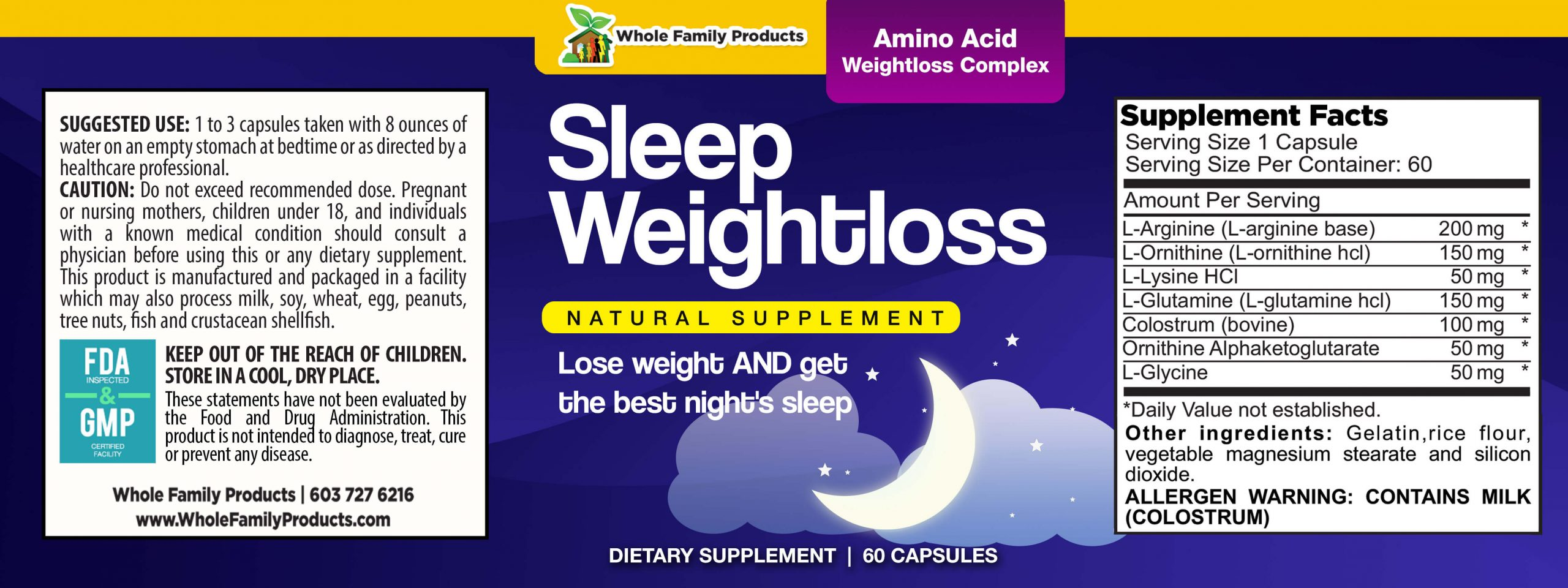 Sleep WeightLoss 60 Capsules WFP Product Label