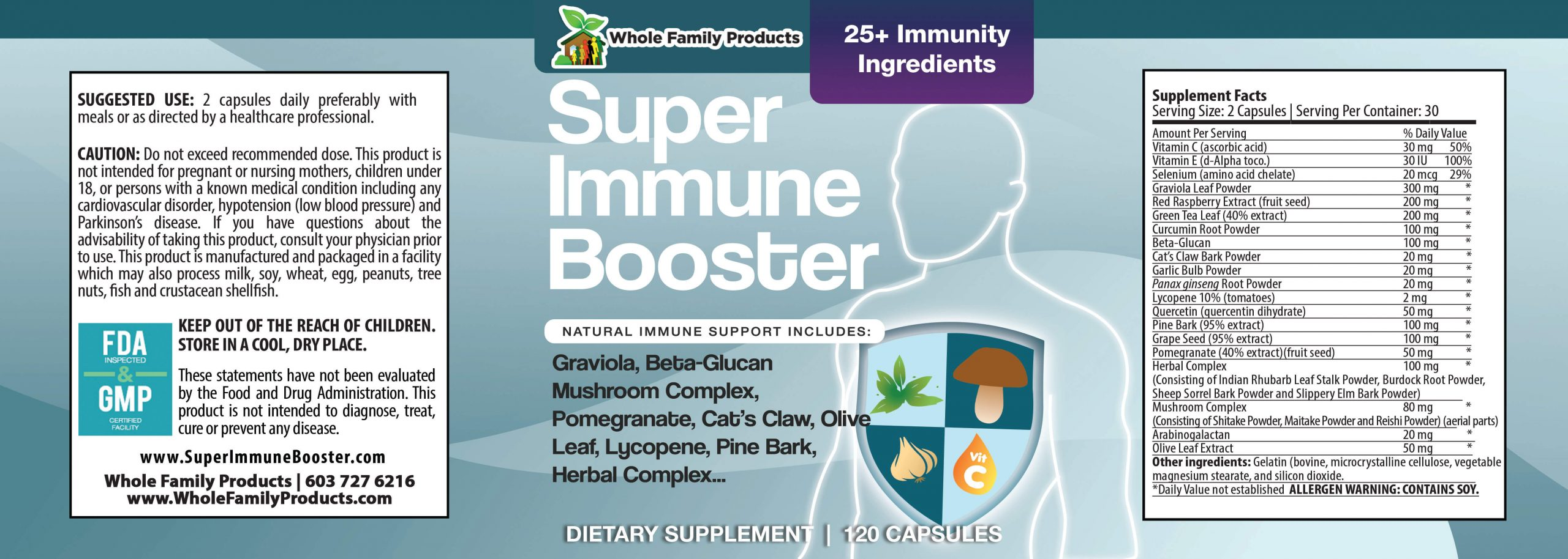 Super Immune Booster 120ct WFP Product Label