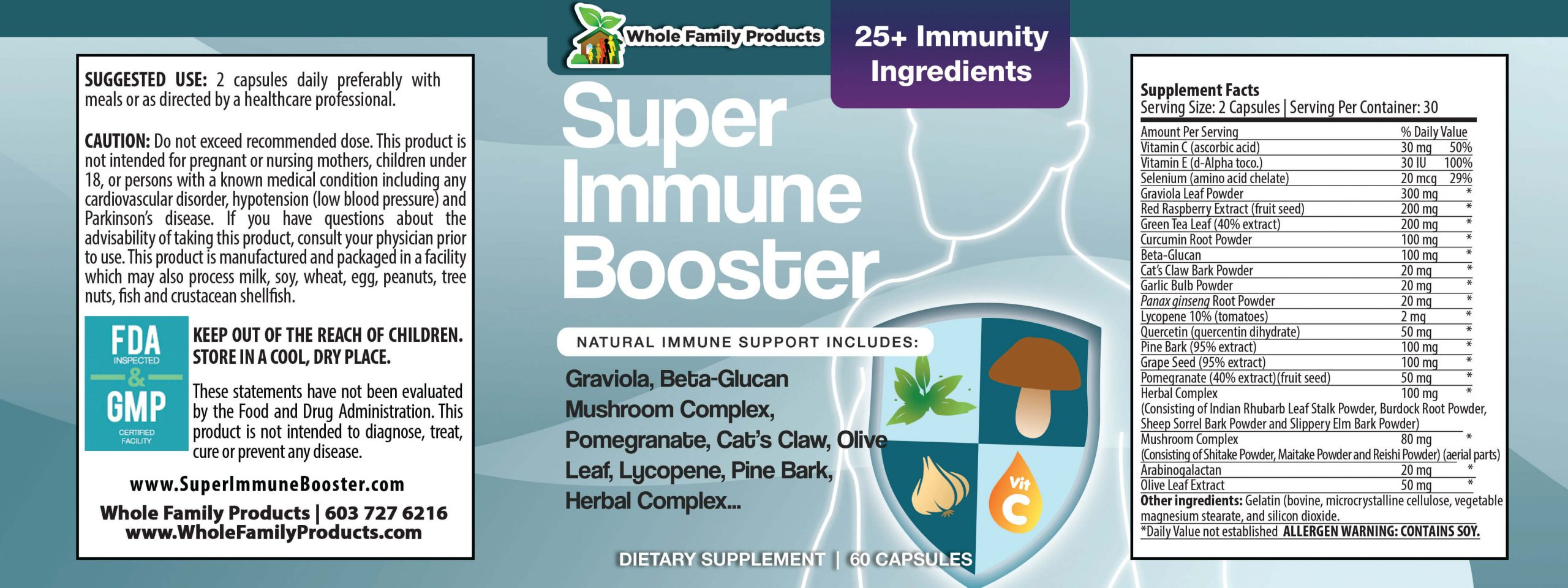 Super Immune Booster 60ct WFP Product Label