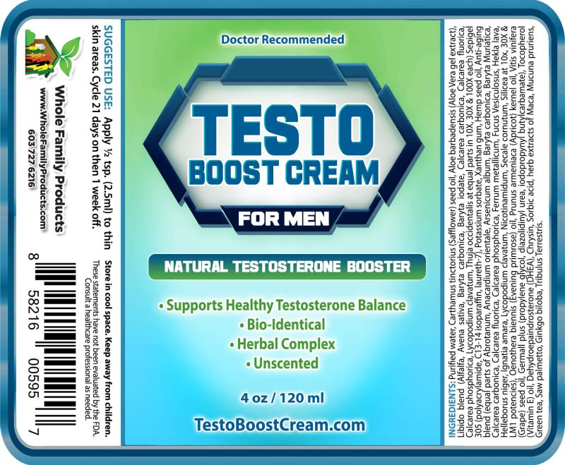 Testo Boost Cream for Men - 4oz Fliptop Label