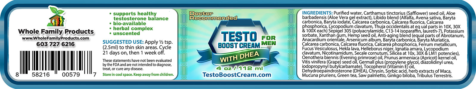 Testo Boost Cream for Men 4oz Jar Label