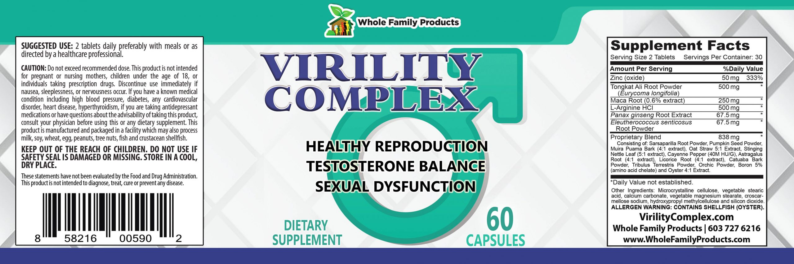 Virility Complex 60ct Product Label